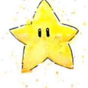 Mario Invincibility Star Watercolor Poster