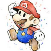 Mario Watercolor Fan Art Poster