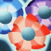 Mark Webster - Abstract Futurist Flowers 2 Oil Painting  Poster