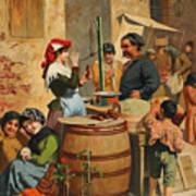 Market Scene In Trieste Poster
