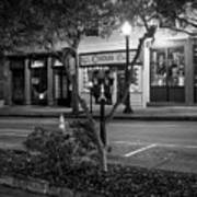 Market Street At Night In Black And White Poster