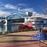 Market Street Bridge With The Delta Queen From Coolidge Park Poster