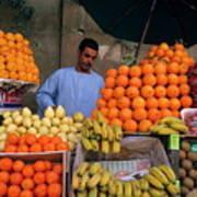 Market Vendor Selling Fruit In A Bazaar Poster