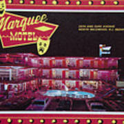 Marquee Motel 1960's Wildwood, Nj, Copyright Aladdin Color Inc. Poster