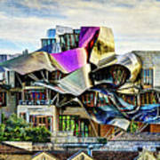 marques de riscal Hotel at sunset - frank gehry - vintage version Poster
