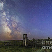 Mars, Saturn & Milky Way Over Ranch Poster