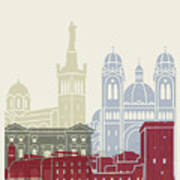 Marseille Skyline Poster Poster