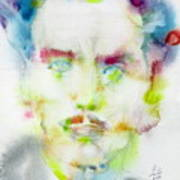Marshall Mcluhan - Watercolor Portrait Poster