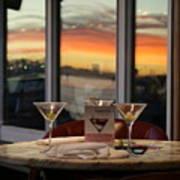 Martini At Sunset Poster