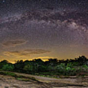 Marveling At The Creation Of God - Milky Way Panorama At Enchanted Rock - Texas Hill Country Poster