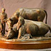 Mary Feilding Smith Praying For Her Ox Bronze Sculpture Poster