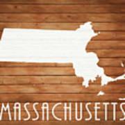 Massachusetts Rustic Map On Wood Poster