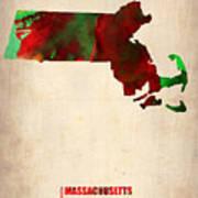 Massachusetts Watercolor Map Poster by Naxart Studio