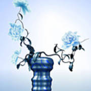 Math Flowers In Blue 1 Poster