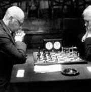 Mature Men Playing Chess, Profile (b&w) Poster
