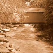 Mcconnells Mill Covered Bridge Sepia Poster