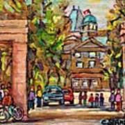 Mcgill Gates  Entrance Of Mcgill University Montreal Quebec Original Oil Painting Carole Spandau Poster