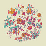 Meadow Flower And Leaf Wreath Isolated On Beige, Circle Doodle F Poster