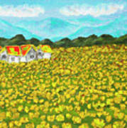 Meadow With Yellow Dandelions, Oil Painting Poster