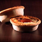 Meat Pies With Sauce And High Contrast Lighting. Poster