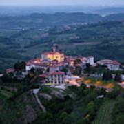 Medieval Hilltop Village Of Smartno Brda Slovenia At Dawn In The Poster