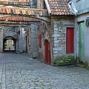 Medieval Lane In Tallinn Poster