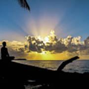 Meditating At Sunrise Poster