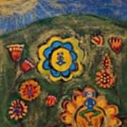 Meditating Master In Divine Garden Poster