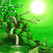 Meditating While Cherry Blossoms Fall In Green Poster