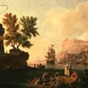 Mediterranean Harbor Scene Poster