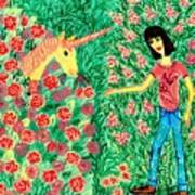 Meeting In The Rose Garden Poster by Sushila Burgess