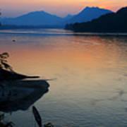 Mekong River Sunset Poster