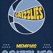 Memphis Grizzlies Vintage Basketball Art Poster