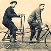 Men On Dual Bicycle, Cca 1900 Poster