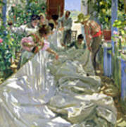 Mending The Sail Poster by Joaquin Sorolla y Bastida