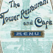 Menu For Lunch At Blackpool Tower Restaurant Poster