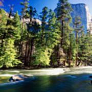 Merced River With The El Capitan Yosemite  National Park California Poster
