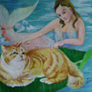 Mermaid And Cat Poster