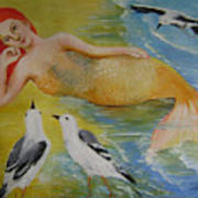 Mermaid And Seagulls Poster