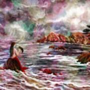 Mermaid In Rainbow Raindrops Poster