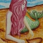 Mermaid On Sand With Heart Poster