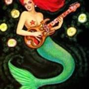 Mermaids Rock Tiki Guitar Poster