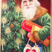 Merry Christmas Santa Delivers Gifts Vintage Card Poster