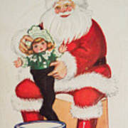Merry Christmas Santa Pulls Doll From His Sack Vintage Card Poster