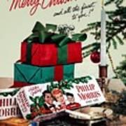 Merry Christmas Vintage Cigarette Advert Poster