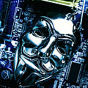 Metal Anonymous Mask On Motherboard Poster