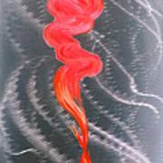 Metal Art Print On Aluminum - Koi Fish Art On Metal - Abstract Fine Art Print - Koi Fish Breaking Fr Poster