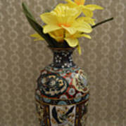 Metal Vase With Flowers Poster