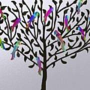 Metallic Parrot Tree Poster