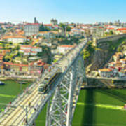 Metro Train Over Porto Bridge Poster